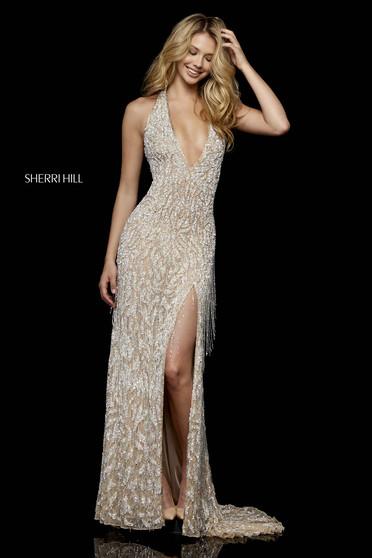 Rochie Sherri Hill 52326 nude/silver