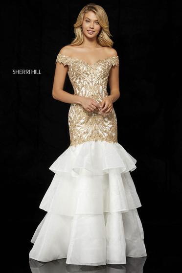 Rochie Sherri Hill 52347 ivory/gold