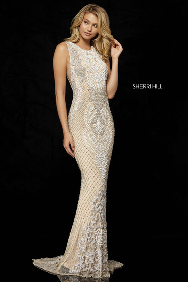 Rochie Sherri Hill 52369 Nude/Ivory/Silver