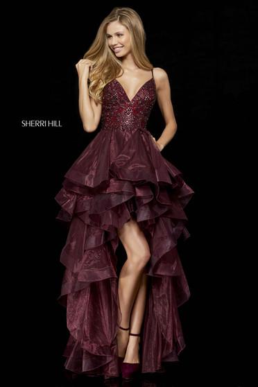 Rochie Sherri Hill 52395 burgundy