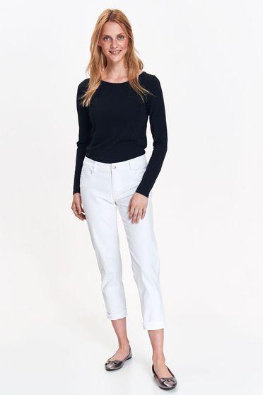 Bluza dama Top Secret neagra basic cu un croi mulat din bumbac usor elastic cu maneci lungi