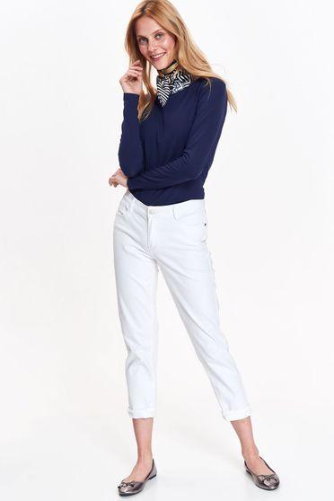 Bluza dama Top Secret albastra-inchis basic cu un croi mulat din bumbac usor elastic cu maneci lungi