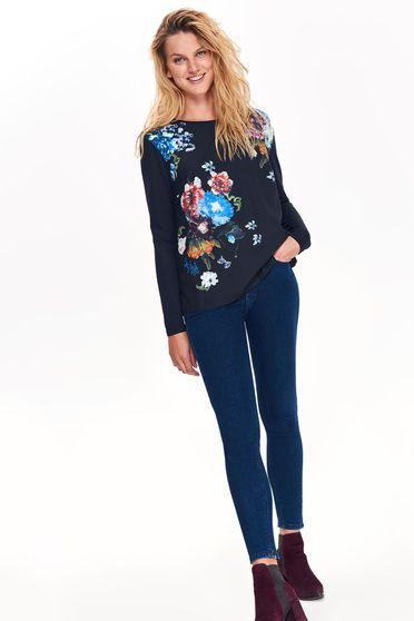 Bluza dama Top Secret albastra-inchis casual cu croi larg din material neelastic cu imprimeuri florale