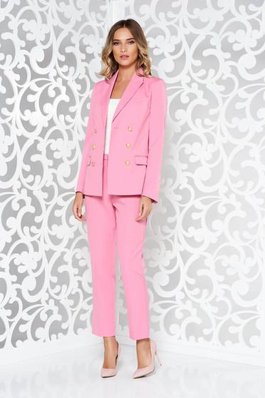 Compleu StarShinerS roz office cu un croi drept din stofa neelastica subtire captusit pe interior