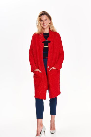 Cardigan Top Secret rosu casual lunga cu croi larg din material tricotat