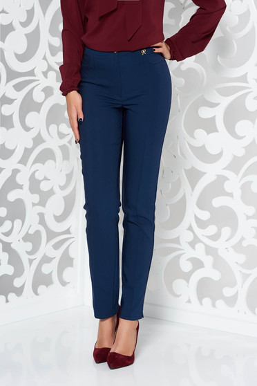 Pantaloni albastri-inchis office conici din material elastic cu talie medie