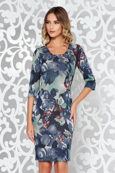 Rochie gri de zi tip creion din material elastic tricotata cu print