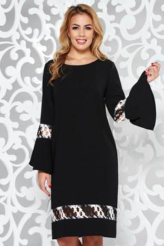 Rochie StarShinerS neagra eleganta cu croi larg din stofa usor elastica cu insertii de broderie