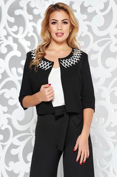 Sacou StarShinerS negru elegant tip bolero cu un croi drept din stofa usor elastica cu insertii de broderie