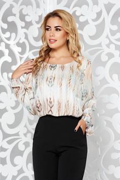 Bluza dama crem office cu croi larg din material satinat cu maneci prinse in elastic