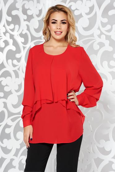 Bluza dama rosie eleganta cu croi larg din voal maneci largi