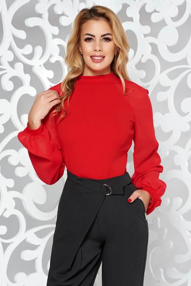 Bluza dama StarShinerS rosie eleganta din material elastic cu maneci lungi
