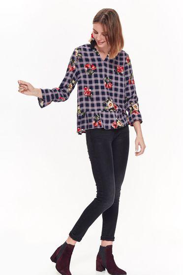 Bluza dama Top Secret neagra casual cu croi larg din material neelastic in carouri cu imprimeuri florale
