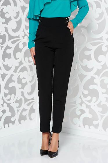 Pantaloni PrettyGirl negri office conici din material usor elastic cu talie inalta si buzunare