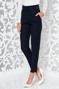 Pantaloni PrettyGirl albastri-inchis office conici din material usor elastic cu talie inalta si buzunare