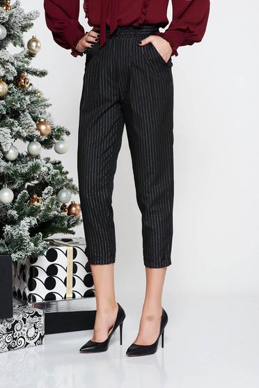 Pantaloni StarShinerS negri office conici cu talie inalta din stofa neelastica subtire cu fir lame si buzunare