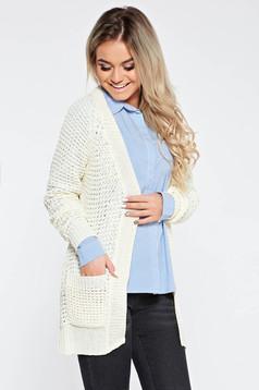Cardigan alb casual din material tricotat cu croi larg cu buzunare