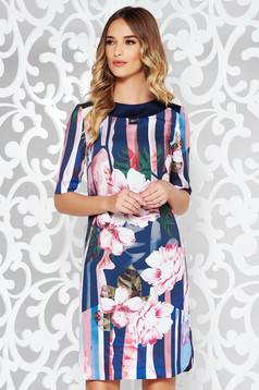 Rochie albastra-inchis de zi midi cu un croi drept din material neelastic captusita pe interior
