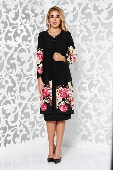 Compleu negru elegant din material usor elastic cu imprimeuri florale
