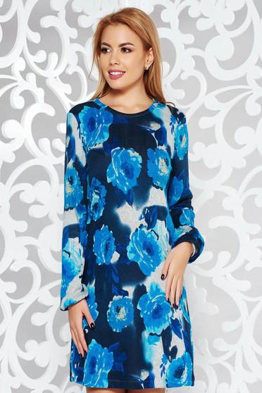 Rochie albastra StarShinerS de zi cu croi larg din material tricotat