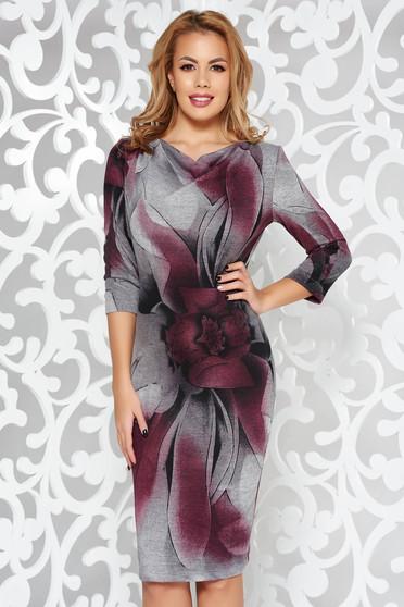 Rochie StarShinerS mov de zi cu un croi mulat din material tricotat cu maneci trei-sferturi