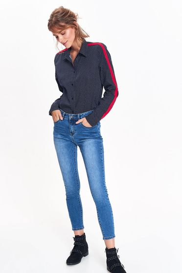 Camasa dama Top Secret albastra-inchis casual cu croi larg din material neelastic cu buline