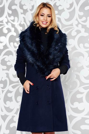 Palton albastru-inchis elegant drept din stofa captusit pe interior cu guler din blana si cu buzunare