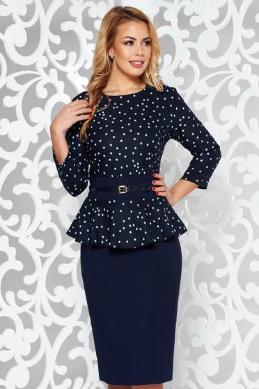 Rochie albastra-inchis eleganta tip creion cu peplum din stofa usor elastica cu accesoriu tip curea
