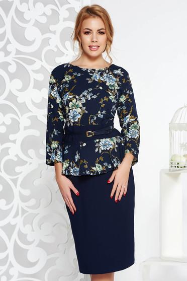 Rochie albastra-inchis eleganta midi din stofa usor elastica cu peplum cu accesoriu tip curea