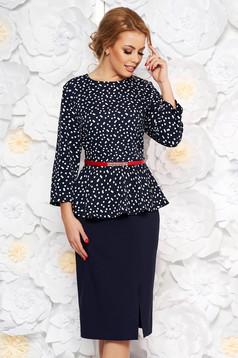 Rochie albastra-inchis eleganta tip creion din stofa usor elastica cu peplum cu accesoriu tip curea