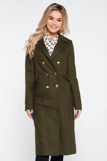 Palton StarShinerS verde-inchis casual cu un croi drept din stofa captusit pe interior