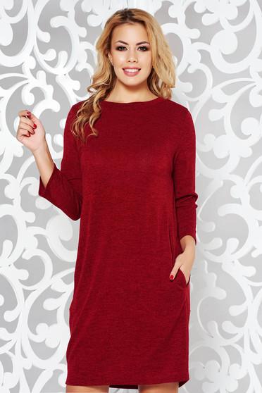 Rochie visinie casual cu croi larg din material tricotat si moale cu buzunare