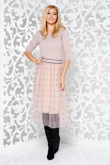 Rochielila StarShinerS de zi in clos din material tricotat cu tul cu elastic in talie