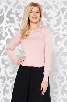 Pulover StarShinerS rosa din bumbac usor elastic din material tricotat cu aplicatii cu pietre strass