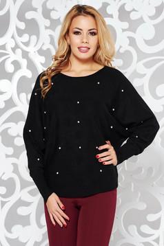 Pulover StarShinerS negru tricotat cu croi larg cu aplicatii cu pietre strass