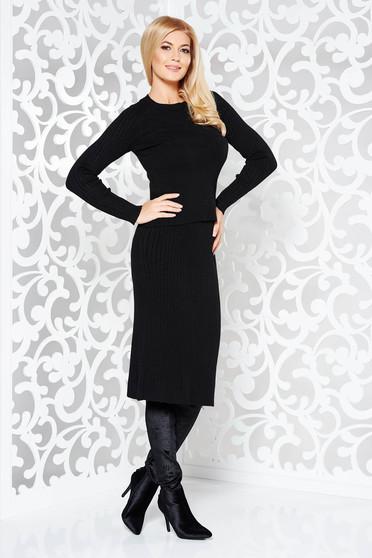 Compleu StarShinerS negru din bumbac tricotat din 2 piese cu un croi mulat