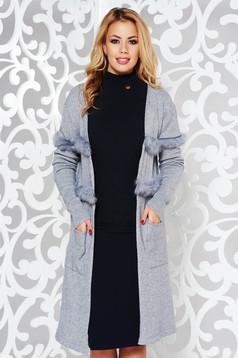 Cardigan gri StarShinerS elegant tricotat din bumbac usor elastic cu insertii cu blana ecologica
