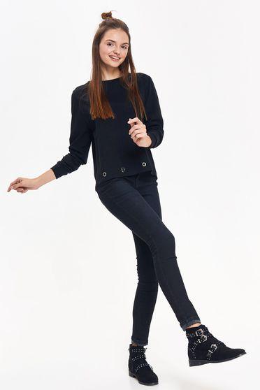Bluza dama Top Secret neagra casual cu croi larg din material fin la atingere
