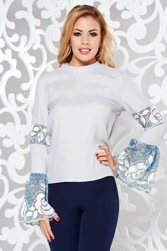 Bluza dama gri StarShinerS eleganta cu croi larg din material neelastic cu aplicatii de dantela