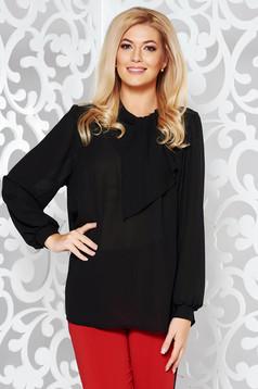 Bluza dama neagra eleganta din voal cu croi larg cu maneci lungi si guler tip esarfa