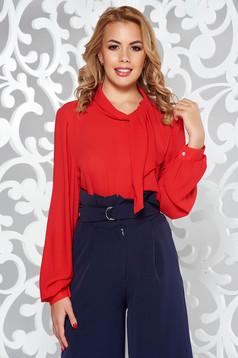 Bluza dama rosie eleganta din voal cu croi larg cu maneci lungi si guler tip esarfa