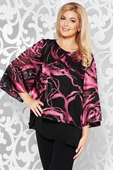 Bluza dama mov eleganta cu croi larg din voal cu imprimeu floral maneci largi