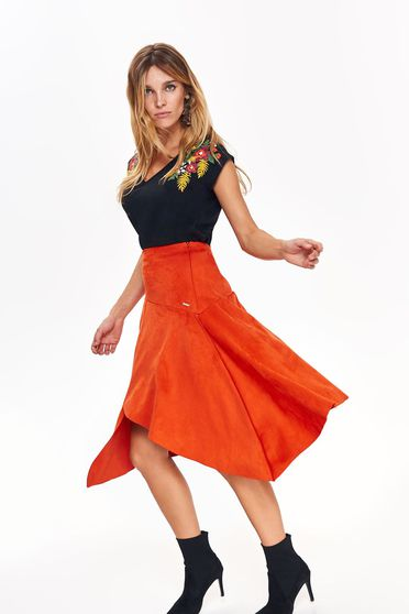 Fusta Top Secret portocalie casual asimetrica cu talie inalta croi in clos din material catifelat