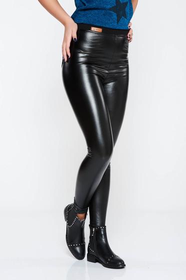 Colanti SunShine negru casual cu un croi mulat cu talie inalta din piele ecologica cu elastic in talie