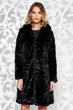 Blana neagra eleganta din blana ecologica captusita pe interior cu buzunare