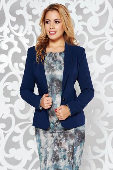 Sacou LaDonna albastru-inchis elegant cambrat din stofa subtire usor elastica captusit pe interior