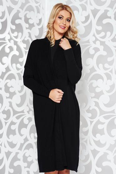 Cardigan SunShine negru casual cu croi larg din material tricotat moale cu maneci lungi