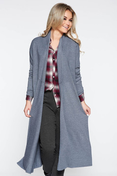 Cardigan SunShine gri casual cu croi larg din material tricotat moale cu maneci lungi