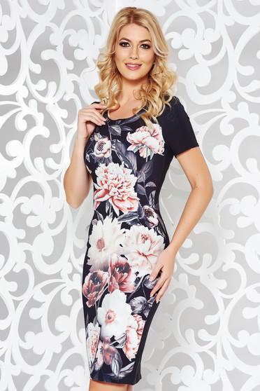 Rochie neagra eleganta tip creion din stofa usor elastica cu imprimeuri florale