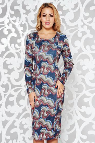 Rochie albastra de zi tip creion din material tricotat cu maneci trei-sferturi